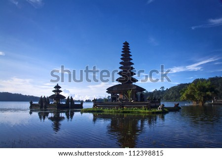 Temples in the lake of Bali Indonesia - stock photo