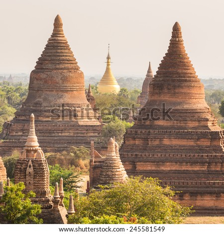 Temples of Bagan an ancient city located in the Mandalay Region of Burma, Myanmar, Asia. - stock photo