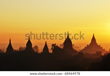 Temples of Bagan in early morning sunshine - stock photo