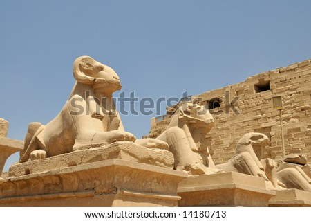 Temples of Karnak, Avenue of Ram-headed Sphinxes - stock photo
