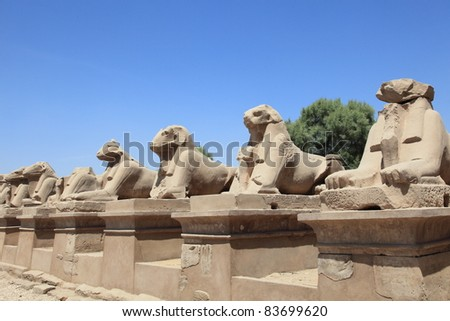 Temples of Karnak, Avenue of ram-headed sphinxes in Luxor, Egypt