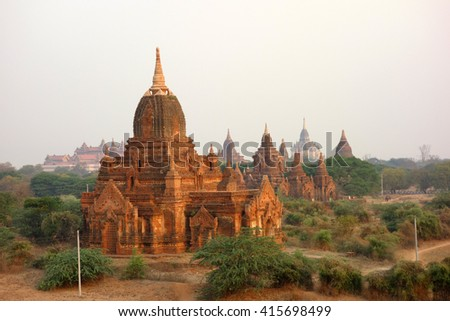 Temples, pagodas and stupas of Bagan (Myanmar) - stock photo
