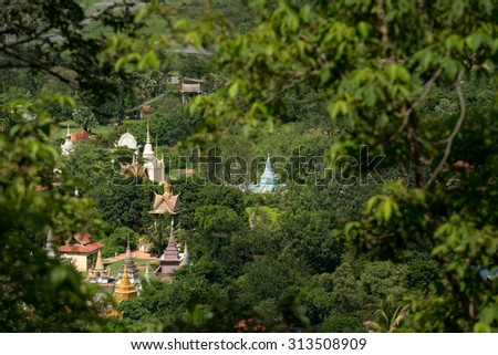 Temples seen from Oudong Mountain in Cambodia - stock photo