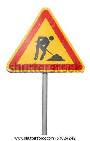 temporary construction sign isolated on white background - stock photo