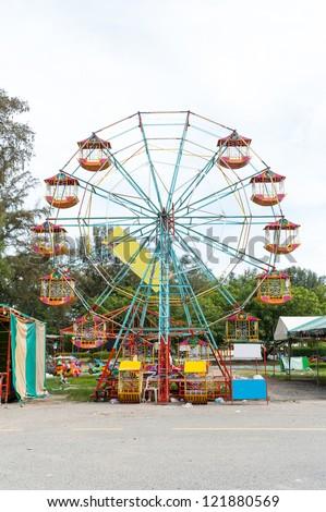 temporary Ferris wheel in Thailand - stock photo