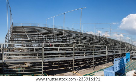 Temporary grandstand seats - stock photo