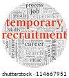 Temporary recruitment concept in word tag cloud on white background - stock vector