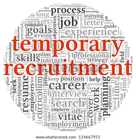 Temporary recruitment concept in word tag cloud on white background - stock photo