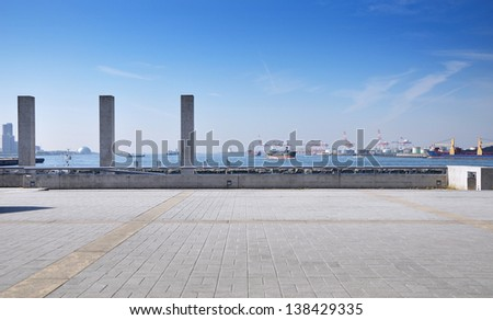 Tempozan harborland port area during the day time, osaka, japan - stock photo