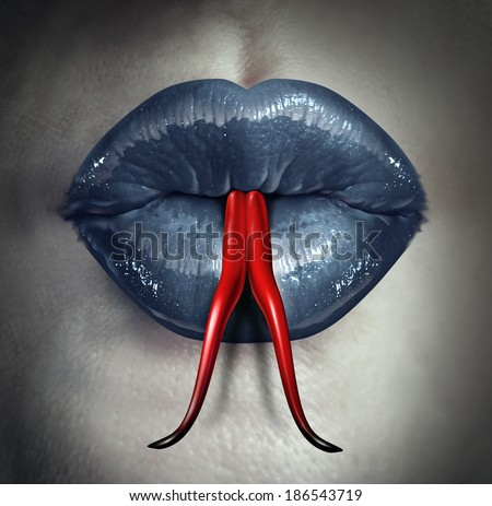 Temptation and human gossip concept as woman lips with a snake forked tongue as a metaphor for dirty talk or sexual issues. - stock photo