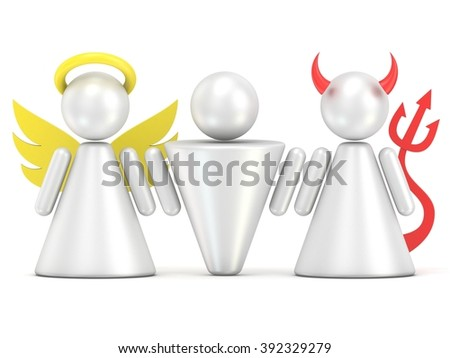Temptation concept. Man, angel and devil figures. 3D render illustration isolated on white background - stock photo