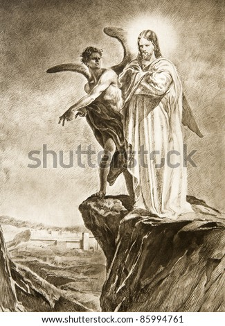 Temptation of Christ on desert - drawing - stock photo