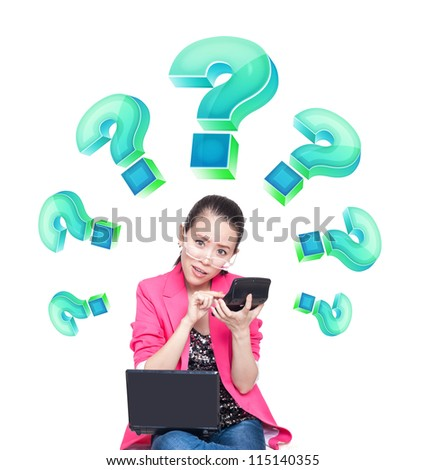 Temptation of young women, with a calculator, financial concept - stock photo