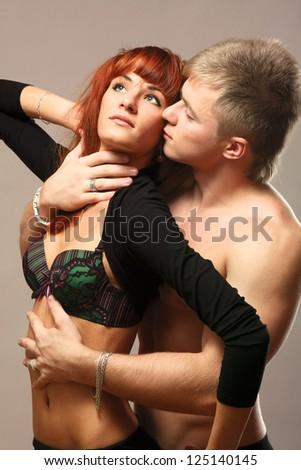 temptation woman and man - stock photo