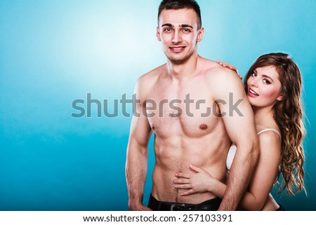 Temptation woman and man. Passionate young people in love. Couple in the passion. - stock photo