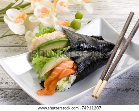 tempura and sake temaki - stock photo