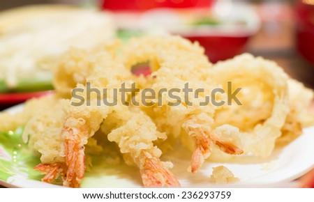 Tempura Fried shrimp Japanese style in thailand. - stock photo