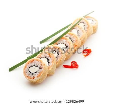 Tempura Maki Sushi - Deep Fried Roll made of Cream Cheese inside. Salmon outside - stock photo