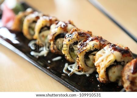 Tempura Maki Sushi with cheese - stock photo