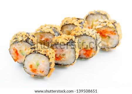 Tempura roll with salmon and avocado. Over white, eight pieces. - stock photo