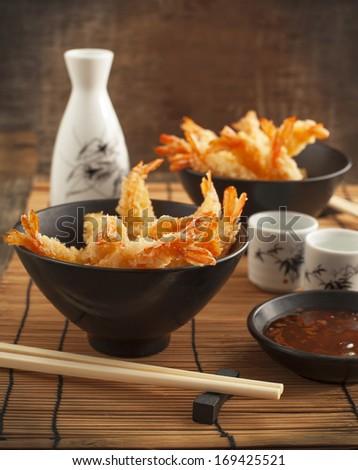 Tempura Shrimps (Deep Fried Shrimps) with sauce - stock photo