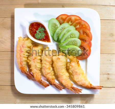 Tempura Shrimps (Deep Fried Shrimps) with Vegetables,  Japanese Food - stock photo