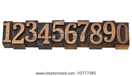 ten arabic numerals zero to nine in isolated vintage wood letterpress printing blocks