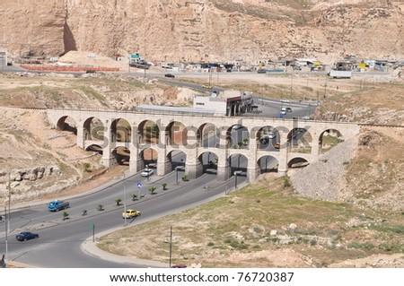 Ten arches bridge in Amman,Jordan - stock photo