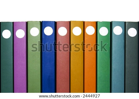 Ten Books. Ten books on white with different colors - stock photo
