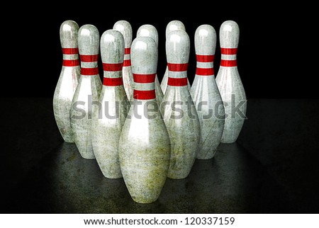 Ten bowling pins in alignment. Group togetherness Concept. - stock photo