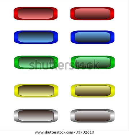 ten color website buttons. Illustration. Isolated on white