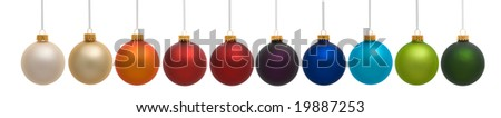 Ten colorful Christmas ornaments on white background - stock photo