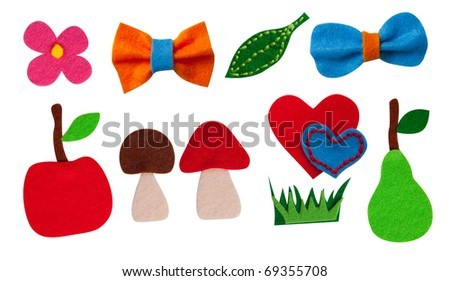 Ten colorful felt elements (grass,mushrooms,aplle,hearts,bow,ribbon,flower,pear,leaf) isolated on the white background - stock photo