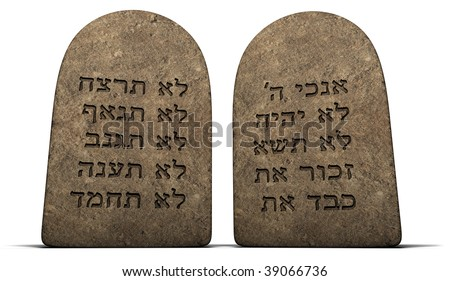 Ten Commandments on stone tablets isolated on a white background with clipping path - stock photo