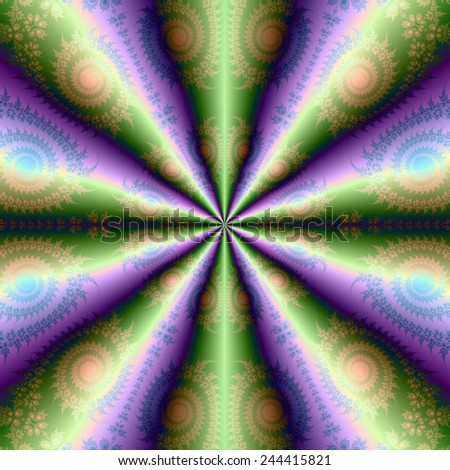 Ten Cones in Green and Purple / A digital abstract fractal image with a folded cone design in green, purple, orange and blue. - stock photo