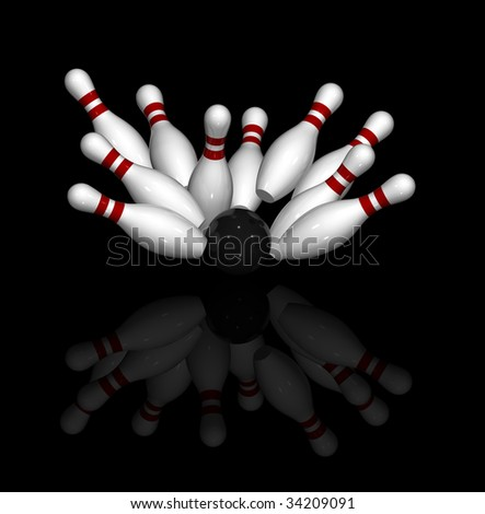 Ten 3D pins in red and white and one black bowling ball, strike - stock photo