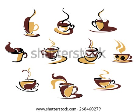 Ten different espresso coffee cups for fast food design - stock photo