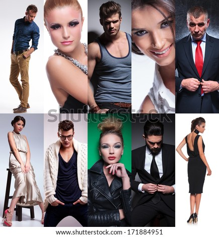 ten different people collage, studio pictures put together - stock photo