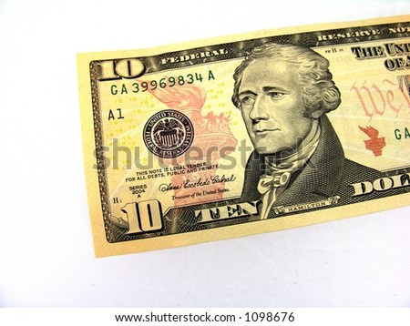 Ten dollar bill. - stock photo
