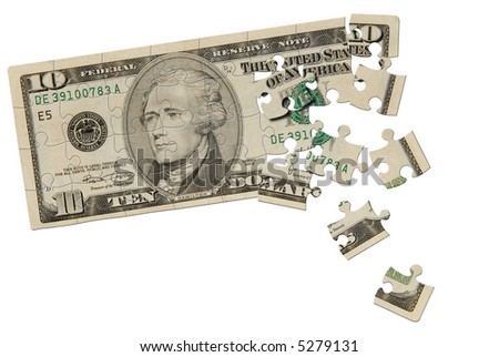 Ten dollar bill puzzle isolated over white