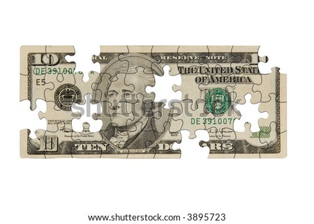 Ten dollar bill with pieces missing isolated over white - stock photo