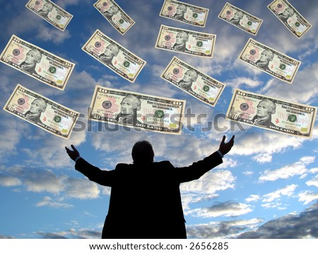 Ten dollar bills falling from the sky into a man's open arms. - stock photo