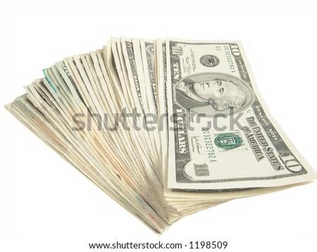 Ten Dollar US Bills - stock photo