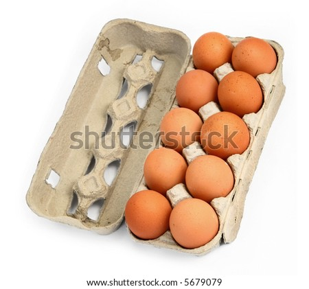 ten eggs in a box against white background, gentle natural  shadow in front and  behind the open lid - stock photo