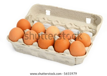 ten eggs in a box against white background, gentle natural shadows behind the open lid - stock photo
