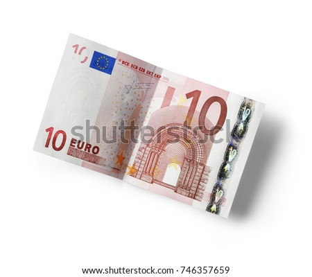 ten euro banknote isolated on white,