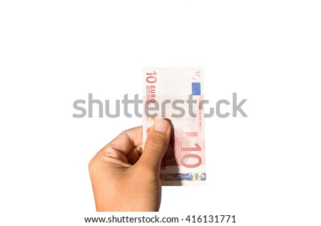 Ten euro banknote on hand isolated - stock photo