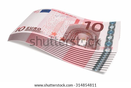 Ten euro banknotes close-up (isolated on white and clipping path)