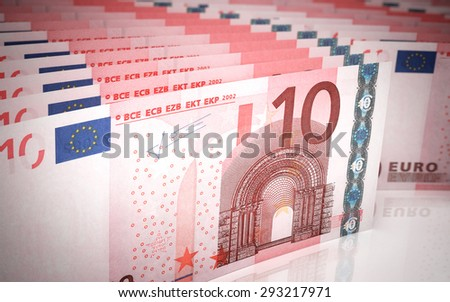 Ten euro banknotes stacks (depth of field) - stock photo