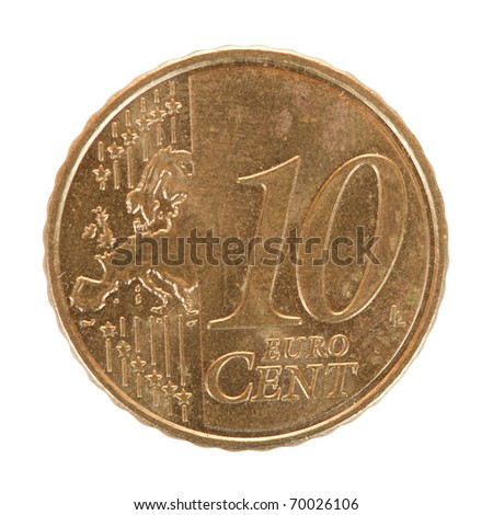 ten euro cent coin. Isolated on white background - stock photo